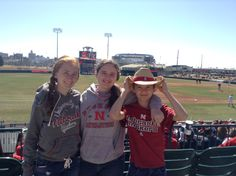 Sarah, Nicole and Zach at a Husker baseball game(we went too)