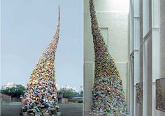 Whirlwind of plastic garbage conveys an environmental concern