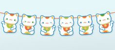 Cute lucky cat garland, fun idea to make!!!