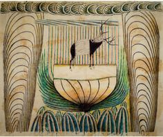 Martín Ramírez (Mexican-American, Outsider Art, 1895–1963): Untitled (Stag with Green Border), c. 1952-1954.