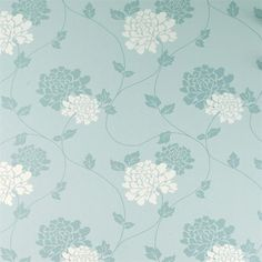 Laura Ashley Isodore Duck Egg White Floral Wallpaper