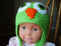 2-4 year old bright green and yellow, owl earflap hat for boy or girl   kniftyhooksneedles - Accessories on ArtFire