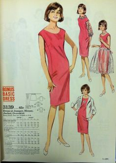 Sheath dress pattern from June 1964 Butterick catalog. #vintagepatterns #vintagesewing