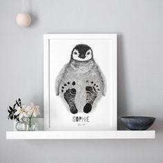 Personalised Baby Penguin Footprint Kit, Unframed personalised baby penguin drawing with black footprints. Penguin Nursery, Penguin Baby Showers, Penguin Drawing, Footprint Art, Art And Craft Videos, Baby Footprints, Idee Diy, Baby Art, Nursery Decor