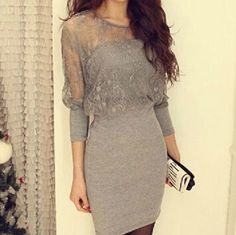 Slim lace long-sleeved dress #ER110603