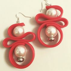 """""""Red! Email us to order! #anotherlagrein #earrings #orecchini #bijoux…"""