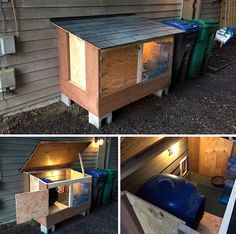 OUTDOOR CAT ROOM — Gone are the litter-box odors and the food messes in our downstairs bathroom, forever. There's room for the litter-box, food, and water. It also features a galvanized mesh paw-cleaning mess-free floor, led lighting (swapped for a heat lamp when it's cold), and a place to lounge and view the woods. The cats have never had it so good! (Designed and built by Greg Piper 2016-03-04) Feral Cat Shelter, Feral Cat House, Outdoor Cat Shelter, Outdoor Cat Enclosure, Outdoor Cats, Feral Cats, Cat Shelters, Heated Outdoor Cat House, Dog Litter Box