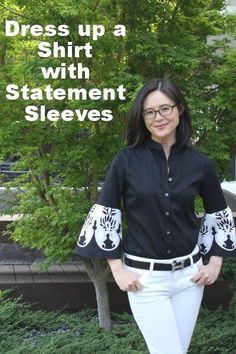 A SKIRT IS USED TO DRESS UP A SHIRT // Refashion Co-op: Dress Up a Shirt with Statement Sleeves