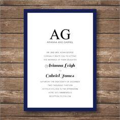 Printable Modern Border Wedding Invitation Suite