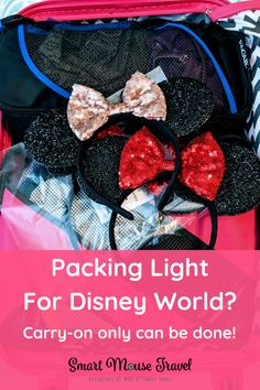 Are you heading to Disney for a short visit? Then try packing light for Disney World using my tested tips. These packing tips even work for runDisney trips! Packing List For Disney, Disney World Packing, Disney World Rides, Disney World Florida, Disney World Vacation, Packing Tips For Travel, Disney Vacations, Walt Disney World, Disney Worlds