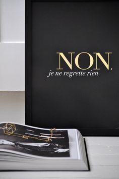 Non Je Ne Regrette Rien (I don't regret anything)  Black  Small/ French by sarahandbendrix, $47.00