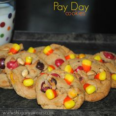 Pay Day Cookies: Peanut butter, candy corn and peanuts create a #copycat Payday flavor!