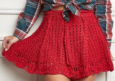 Preciso fazer essa saia *-* #crochet #skirt #cute                                                                                                                                                                                 Mais