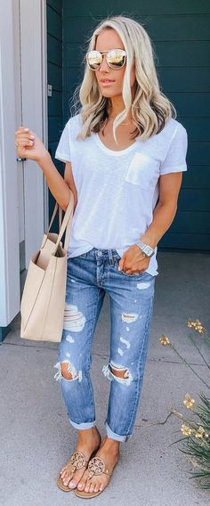 #summer #outfits Casual + Comfy 💕 Love A Great Basic White Tee + Distressed Boyfriend Jeans! My White Pocket Tee Is A Great Staple And Is Currently On SALE! It Comes In Lots Of Other Amazing Colors Too! Shop My Entire Look By Clicking The Link In My Bio! You Can Also Like + Screenshot This Pic To Get Outfit Details Emailed Directly To You Via The LiketoKnow.it App! Search Katelynpjones To Follow Me In The App! // Http://liketk.it/2wBdc #liketkit @liketoknow.it #LTKunder100 #LTKunder50…