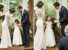 I'd love to have a second to say a little pray with my husband and kids at my wedding so precious