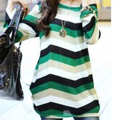 HP GREEN LONG SLEEVE T last1 Color: black green beige & white stripes.  Style: round collar & loose fitting.  Fabric: cotton blend.  Stand out with this tee.  Size: O/S xs-m (approx). -No trades. HP Tops Tees - Long Sleeve