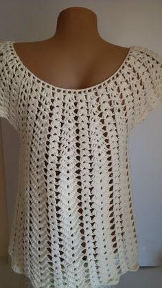 Blouse Au Crochet, Crochet Shawl, Hand Crochet, Pull Crochet, Crochet Top, Blouse Pattern Free, Fillet Crochet, Spring Blouses, Lace Knitting Patterns