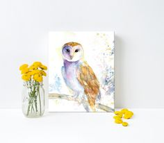 Canvas Art - This elegant barn owl is ready to keep watch in your home.  Canvas watercolor print by Hand and Hart Designs.
