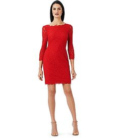 Adrianna Papell Petite Scalloped Lace Sheath Dress #Dillards