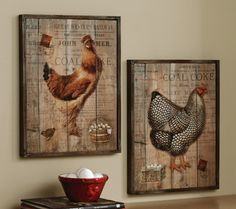 French Country Kitchen rooster motif | Rustic Rooster and Hen French Country Wall Decor from Collections Etc.