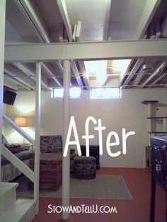 Tips for Painting an Exposed Basement Ceiling Unfinished basement ideas Basement laundry room ideas Basement ceiling ideas Painting basement ceiling Unfinished basement laundry room Diy basement ideas Basement Laundry, Basement Gym, Basement Makeover, Basement Bedrooms, Basement Flooring, Basement Renovations, Home Renovation, Basement Bathroom, Walkout Basement