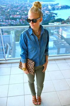 denim button down olive pants animal print clutch