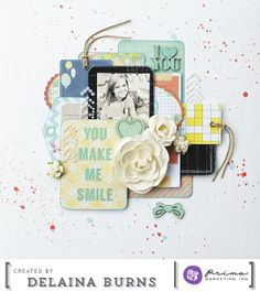 The talented Delaina Burns created this stunning layout using Color Bloom Sprays! She even created a step-by-step video with tips and techniques on using our new sprays. Look in our Color Bloom Board for it! #marchcolorbloommadness #tutorials #videos #diy