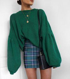 To School Outfit plaid Fashion Round Collar Long Sleeve Loose Comfortable Sweater Moda gola redonda manga longa solta camisola confortável Mode Outfits, Fall Outfits, Casual Outfits, Fashion Outfits, Fashion Trends, Womens Fashion, Ladies Fashion, Fashion Ideas, Skirt Outfits