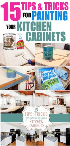 Tips and tricks for painting kitchen cabinets. #kitchen #painting #cabinets