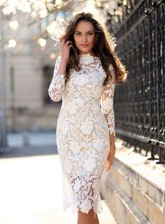 Women's Fashion Long Sleeve Floral Lace Bodycon Dress novashe.com