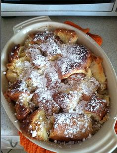 French Toast Bake: Used french bread, 6 eggs, 1 C milk, 2 T sugar, blueberries and sprinkled with brown sugar. 350 until baked through.