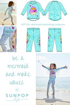 A timeless mix of illustration and photography makes this swimming costume worth of collectible status. Sea life over a water photo pattern makes this background a familiar place for these two lovely mermaids to come out to play. UPF 50+ sun properties add to the equation of beautiful looks and the best sun protection.  Sun Pop Life, sun protection your kids will actually want to wear.  Free Shipping within the USA and flat fee shipping worldwide.