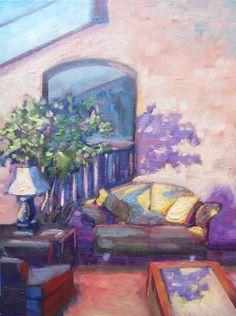In the Lobby oil on canvas motel art original oil by brandycattoor,