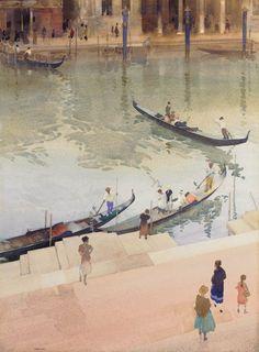 Traghetto, Grand Canal, Venice, Sir William Russell Flint. (1880 - 1969
