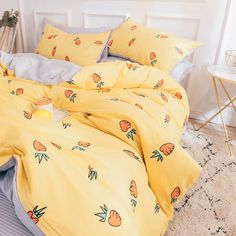 Cute Carrots Bed sheet,Quiltcover,Pillowcover is part of Kawaii bedroom Cute Carrots Bed sheet,Quiltcover,Pillowcover 0 (Please allow differs due to manual - Dream Rooms, Dream Bedroom, Master Bedroom, My New Room, My Room, Cute Bed Sheets, Twin Bed Sheets, Kawaii Bedroom, Cute Room Decor