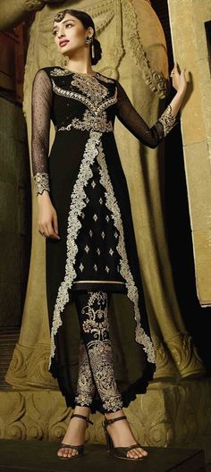 Trendy Black Designer Salwar Kameez ftrom Our Eid Special Collection 465163 Black and Grey color family Party Wear Salwar Kameez in Faux Georgette fabric with Lace,Machine Embroidery,Stone,Thread work .