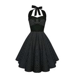 Rockabilly Polka Dot Dress Black Pin Up Dress Gothic Halloween Party Dress