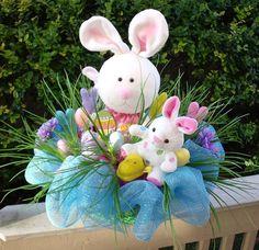 Bunny Centerpiece Easter Arrangement Easter Flower by LuxeWreaths