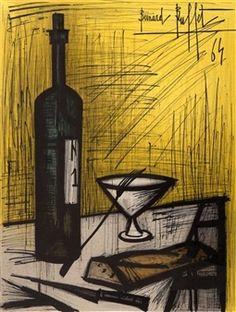 Still Life and Wine By Bernard Buffet ,1964