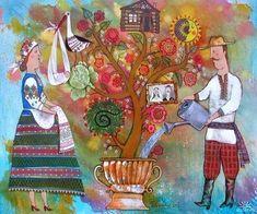 Very cute folk style family tree painting. Tree Wall Murals, Tree Wall Art, Marc Chagall, Ukrainian Art, Painting People, Naive Art, Illustrations And Posters, Folk Art, Art Decor