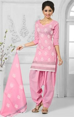 Picture of Dazzling Pink Cotton Salwar Kameez