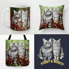 Perry and Monty swag!  When you order a custom portrait from us we'll help you get the image onto mugs pillows and more.  See Jimiyo.com/pet for details.  Is this @iamlilbub or a Duffalo @squish_duffy_fergie impression!  #tacotonguetuesday #exoticshorthair #cat #cute #flatface #kitten #meow #pet #mreggs #catlover #exoticsofinstagram #smushface #weeklyfluff #catswag