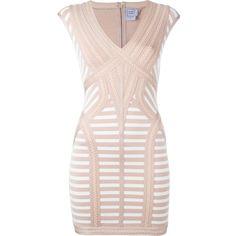 Hervé Léger striped fitted mini dress (9 415 SEK) ❤ liked on Polyvore featuring dresses, herve leger dress, stripe dresses, striped dress, short dresses and striped mini dress