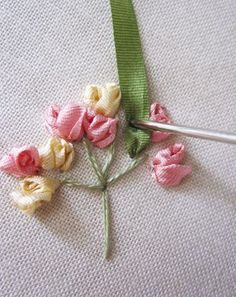 Stitch of the Month! Silk Ribbon Embroidery Simple Rose Spray #SilkRibbonEmbroidery