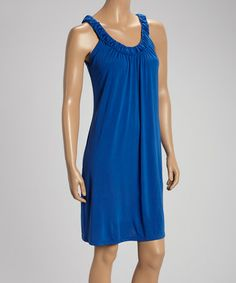 Another great find on #zulily! Cobalt Ruched Yoke Sleeveless Dress #zulilyfinds