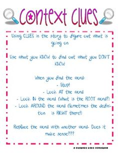 READING SKILLS: CONTEXT CLUES ANCHOR CHART - TeachersPayTeachers.
