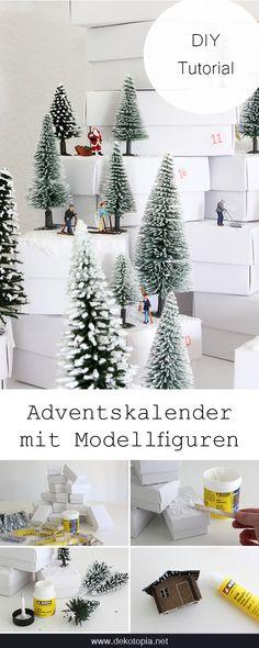 Winterwonderland: Bastel einen coolen Adventskalender mit Modellfiguren, Schneepaste und Bäumen. Ein ganzer Winterwald aus kleinen Boxen!