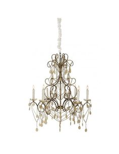 Aidan Gray Carew Court chandelier in a mix of gilded gold and copper finishes with swags of glass beads and oval metal drops Coastal Chandelier, Modern Chandelier, Chandelier Lighting, Gold Chandelier, Eclectic Furniture, Shabby Chic Furniture, French Country Chandelier, Painted Fox Home, Gardens