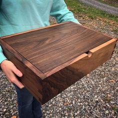 "Custom size walnut heirloom box, this one is 18"" x 12"" x 3.5"" inside."