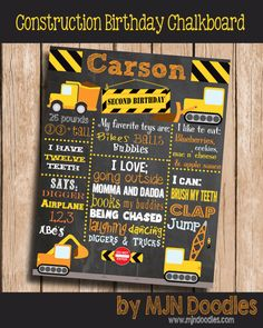 First Birthday Chalkboard Construction Vehicles Dig Dig Diggers Trucks Backhoes Garbage Truck Boy Birthday Chalkboard Poster Second Birthday